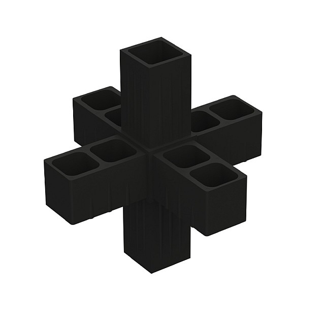 6 WAY CONNECTOR 20x20, BLACK